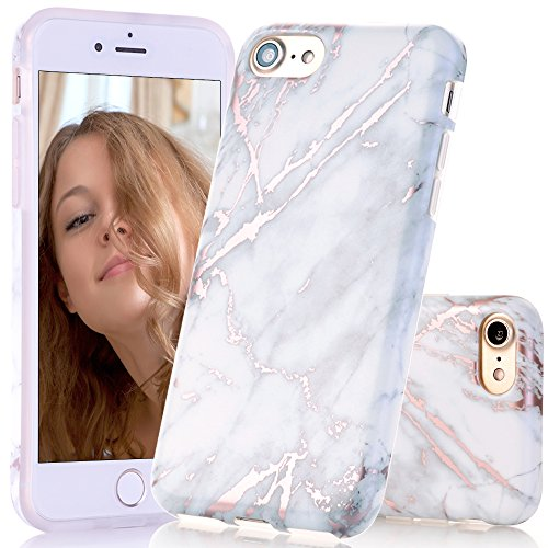 BAISRKE Shiny Rose Gold Marble Design Clear Bumper Matte TPU Soft Rubber Silicone Cover Phone Case Compatible with iPhone 7 (2016) / iPhone 8 (2017) [4.7 inch] - Off-White