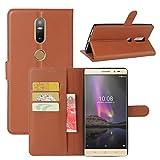 HualuBro Lenovo Phab 2 Plus Hülle, Leder Brieftasche Etui Tasche Schutzhülle HandyHülle [Standfunktion] Leather Wallet Flip Hülle Cover für Lenovo Phab 2 Plus (Braun)