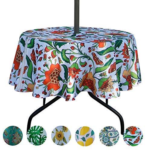 EHouseHome Outdoor Tablecloth Water Resistant Spill Proof Fabric Table Cover with Zipper Umbrella Hole for Garden Patio Tabletop 60Inch Round,Babala