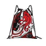 Bolsas de pelo rojo niña abstracta arte con cordón mochila...