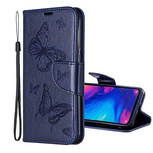 Nadoli Leder Hülle für Galaxy A30,PU Leder Magnetverschluss Standfunktion Schmetterling Muster Brieftasche Schutzhülle Etui im Bookstyle für Samsung Galaxy A30