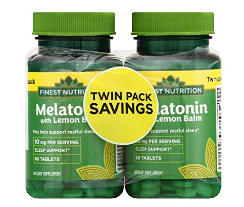 Finest Nutrition Melatonin 10 mg with Lemon Balm Twin Pack 60.0 ea x 2 Pack