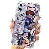 SGVAHY iPhone 8 Plusケース キラキラ 液体 流れるラメ入り 化粧品アイシャドウデザイン 流動……