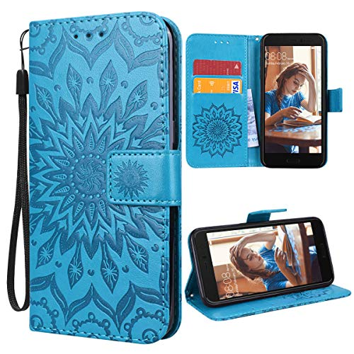 VemMore für HTC U11 Hülle Handyhülle Schutzhülle Leder PU Wallet Flip Hülle Bumper Lederhülle Ledertasche Blumen Muster Klapphülle Klappbar Magnetisch Dünn Silikon Sonnenblume - Blau