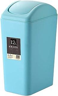 ZXJshyp Shake The Trash Can, Bedroom/Living Room/Plastic Trash Bin with Lid, Toilet/Office Plastic Dustbin 12L (Color : Bl...