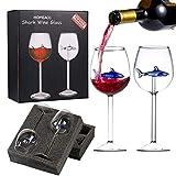 Shark Wine Glasses with Shark Inside,Great Gift for Wine Tasting Birthday Anniversary Wedding,10 Ounce Shark Wine Glass Goblets for Shark Week Gifts…