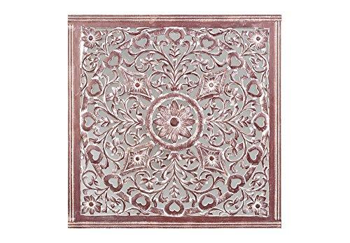 Faisan Home Espejo Cuadrado Mandala, Madera, Chocolate y Blanco, 92 x 92 cm