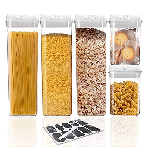 VIVILINEN recipientes herméticos para almacenamiento de alimentos con tapas ideal para cereales espaguetis pasta dulces bocadillos para mantener los alimentos secos y frescos (Blanco, 1.9Lx3 + 0.8Lx2)