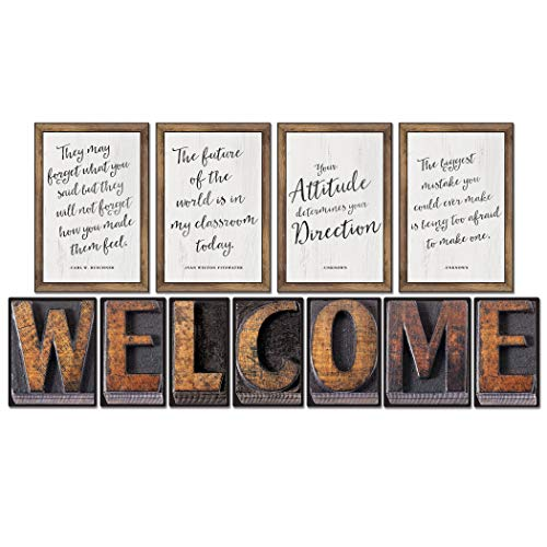 Schoolgirl Style Rustic Welcome Bulletin Board Set—Farmhouse Welcome Sign Letters, Industrial Chic Posters with Inspirational Quotes, Farmhouse Decor (11 pc)