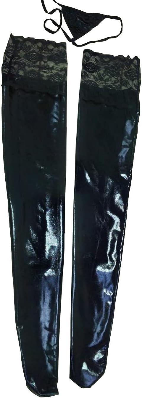 WeiDuoLuo Women's Shiny Wet Long Look Thigh High Stockings
