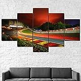 HHGJJ 3D Wandaufkleber Kunst Malerei,Moderne Bilder Wohnzimmer Rahmen,Kunstdruck Auf Leinwand,XXL Bilder Auf Leinwand Spa-Francorchamps F1-Rennstrecke,Leinwanddrucke 5 Panels,5 Stück Leinwand Bilder