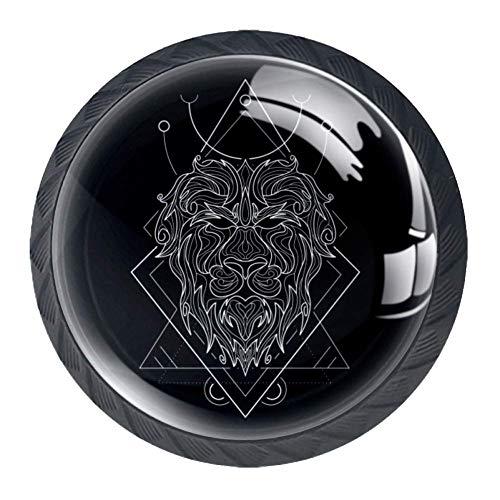 Zodiac Leo Geometri Möbelknöpfe und -griffe, rund, für Küchen- und Badezimmerschränke, Kommoden, Schränke, Schubladen, Rollläden, 4 Stück