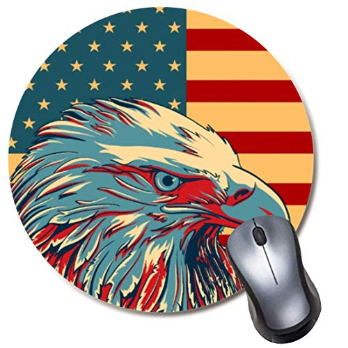 Yaxazepluy - American Eagle Flag Mouse Pad, Gaming Round Mousepad for Computer Laptop Non-Slip Rubber Desk Mat,Cute Office Gift(8 Inch)