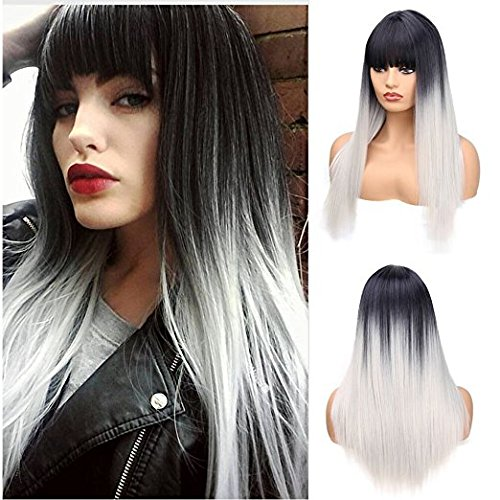 Ani·Lnc New Fashion 3colors 65cm Long Straight Synthetic Ombre Hair Wigs With Bangs.