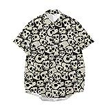 N\P Camisa de manga corta de verano con estampado de calavera para hombre