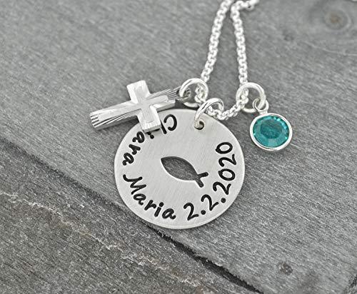 Taufschmuck, Taufkette aus 925 Silber und Geburtsstein, Halskette und Plättchen mit Gravur, Christenfisch und Kreuz, Ichthys Kette