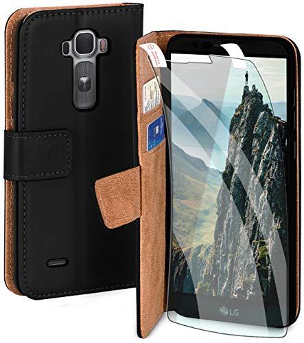 moex Handyhülle für LG G Flex 2 - Hülle mit Kartenfach, Geldfach & Ständer, Klapphülle, PU Leder Book Hülle & Schutzfolie - Schwarz