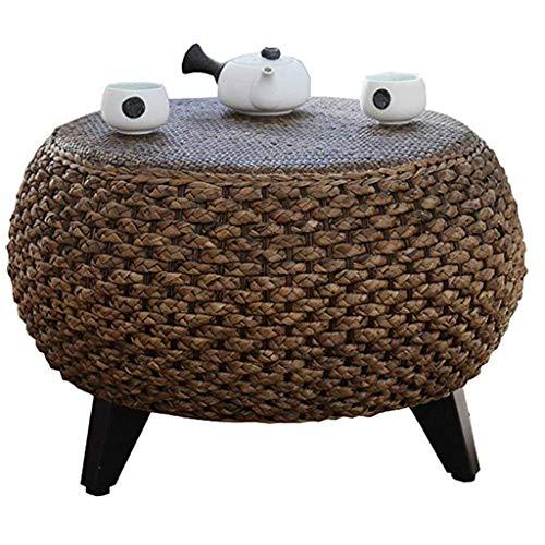Gartenmöbel Zubehör Kleiner Tisch Runder Rattantisch Mit Beinen Balkon Teetisch Tatami Niedriger Tisch Arbeitszimmer Nachttisch , handgemacht Tische (Color : Brown, Size : 40 * 40 * 34cm)
