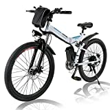 Hiriyt 26'' Electric Mountain Bike with Removable Large Capacity Lithium-Ion Battery (36V 250W), Electric Bike 21 Speed Gear and Three Working Modes (White)