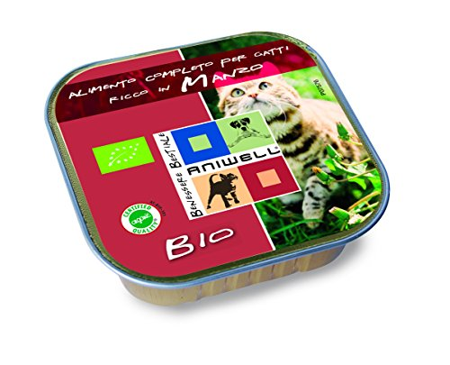 Aniwell - Cibo Umido per Gatti Bio - Alimento Completo Manzo Biologico, 17 Vaschette da 100g