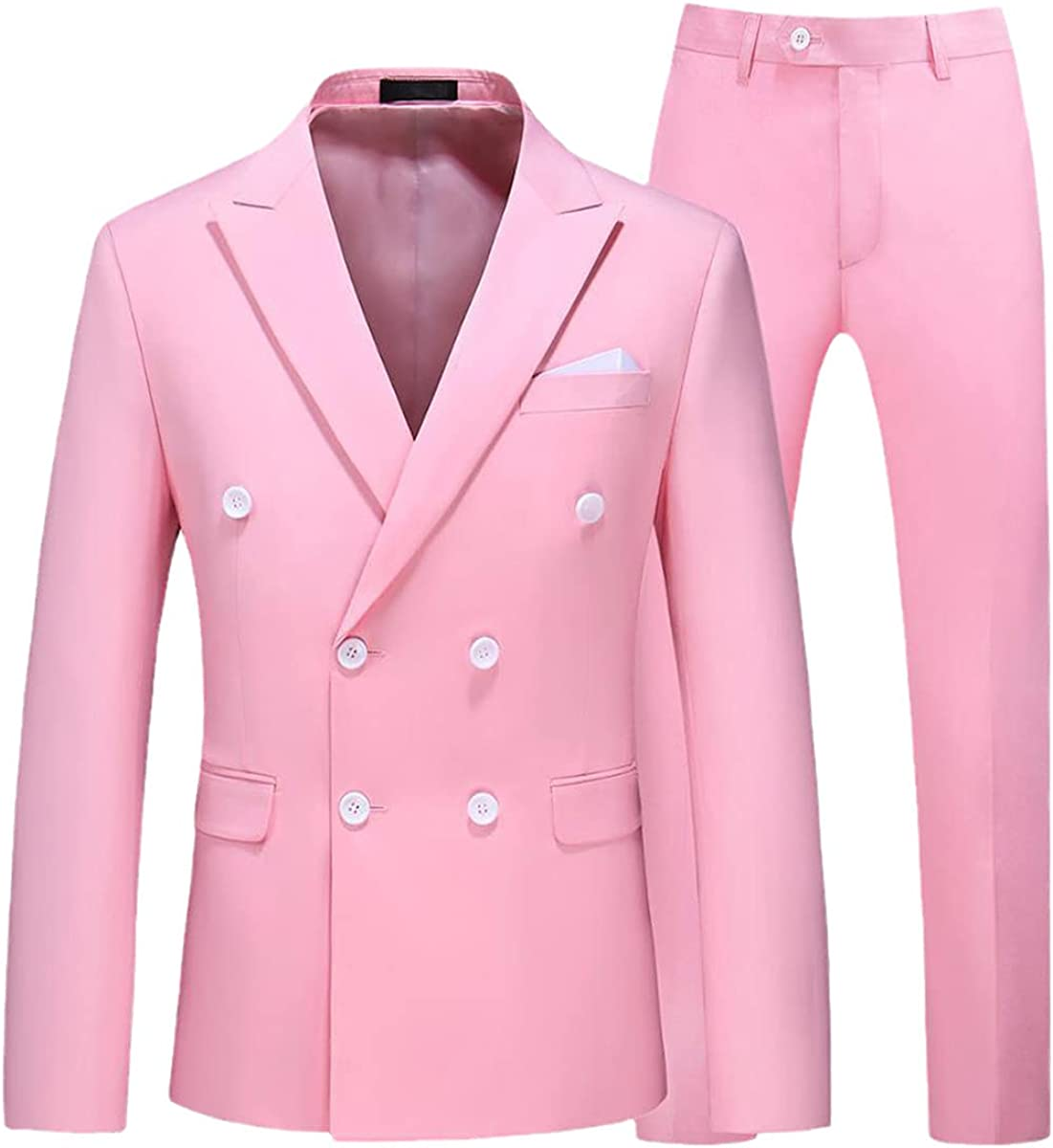 CACLSL Double Breasted Tuxedo Suit Men's Business Work Wedding Formal Suit Solid Color Suit Jacket with Pants