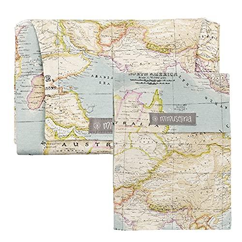 Mimuselina Pack Cambiador de Paseo Portatil + Portapañales o Guardapañales a Juego (Mapamundi)