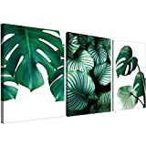 "Tropical Art Print Large 3 x 16"" x 24"" Green Leaf Wall Art Green Wall Decor Tropical Leaves Art Canvas Wall Art"