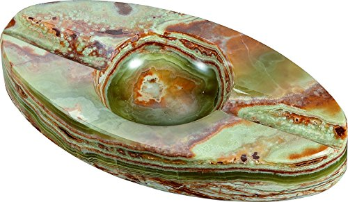 Visol Products Azure Jade Oval Onyx Cigar Ashtray with 2 Rests
