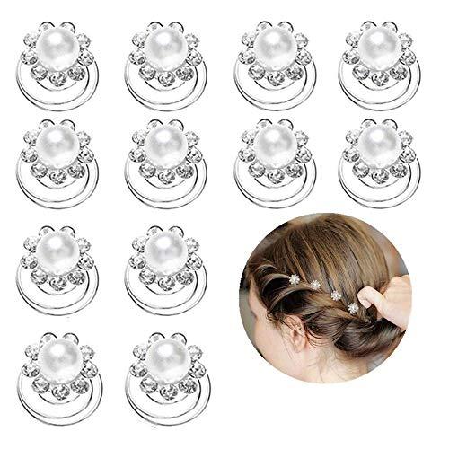 Ealicere 12 Stück Weiß Perlen Strass Spirale Haarnadel, Haarspiralen Haarspange, Hochzeit Brautschmuck Braut Curlies Haarschmuck Haarklammer