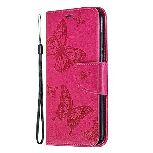 Lomogo Huawei P Smart Hülle Leder, Schutzhülle Brieftasche mit Kartenfach Klappbar Magnetverschluss Stoßfest Kratzfest Handyhülle Case für Huawei P Smart - LOBFE140188 Rosa Rot