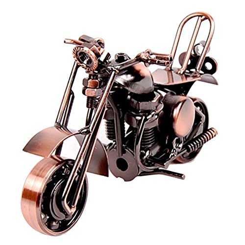SwirlColor Model Motorcycle, Classic Metal Motorbike Model Creative Birthday Gift for Boyfriend Dad Photography Decor Props(retro coppery)