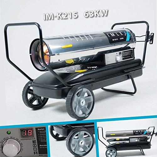 IMLEX LEISTUNGSSTARKE Diesel Heizkanone IM-K215 (63 KW 215000 BTU) Gehäuse u. Brennkammer aus hochwertigem Edelstahl , integrierter Thermostat und Digitalanzeige für Automatischen Betrieb