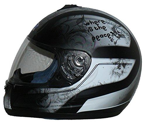 protectWEAR Motorradhelm Integralhelm, Schwarz/Grau/Weiß, L