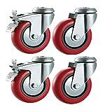 100mm ruedas giratorias con frenos de poliuretano (sintética rojo)–resistente–muebles, aparato y equipo ruedas por Bulldog ruedas–Max 400kg por Set