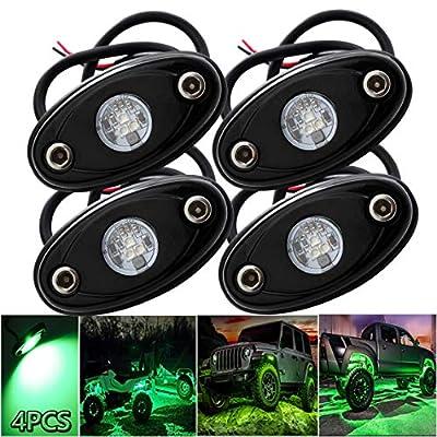 LEDMIRCY LED Rock Lights Green Kit 4PCS for JEE...