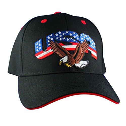 AffinityAddOns USA mit Weißkopfseeadler Hut - gestickt Patch Baseball Cap schwarz, rot