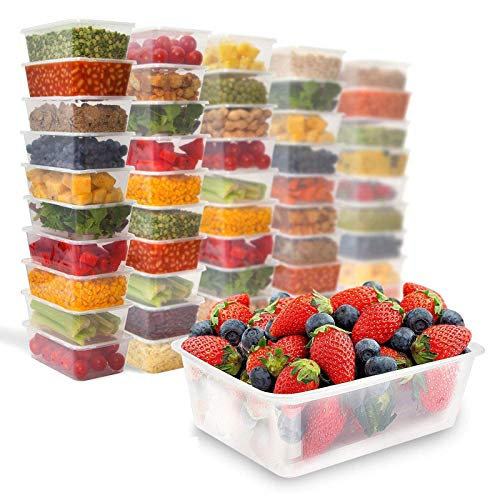 Picture of Zuvo 50 X Rectangular Microwave Plastic Food Container, Reusable Food Container Clear, 750 ml, Set of 50