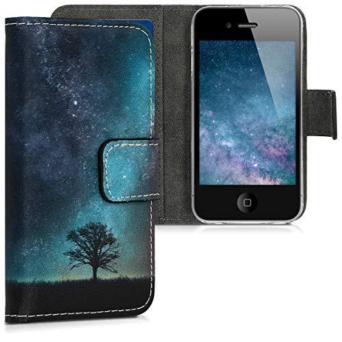 kwmobile Apple iPhone 4 / 4S Hülle - Kunstleder Wallet Case für Apple iPhone 4 / 4S mit Kartenfächern & Stand - Galaxie Baum Wiese Design Blau Grau Schwarz