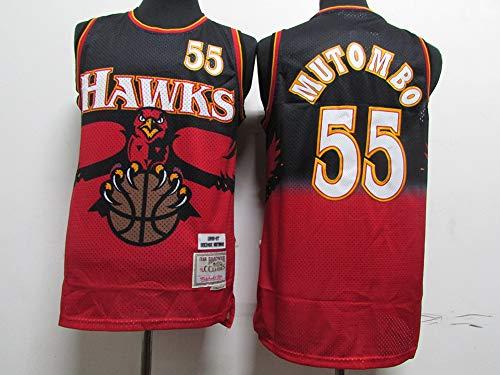 TGSCX Versión Retro Men's Baloncesto Jersey NBA Atlanta Hawks 55# DIKEMBE Mutombo Cómodo/liviano/Transpirable Malla Bordada Swing Swing Sworing Sweatshirt,M