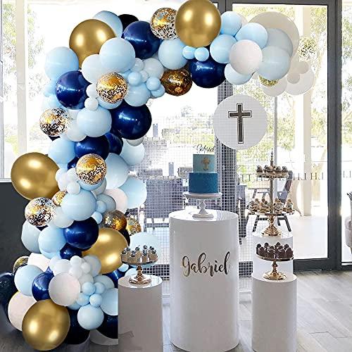 Kit Ghirlanda Palloncini Blu, Palloncini Battesimo Bambino Arco Palloncini Azzurri Bianco Oro Confetti Palloncin per Decorazione di Compleanno Sfondo di Nozze Baby Shower