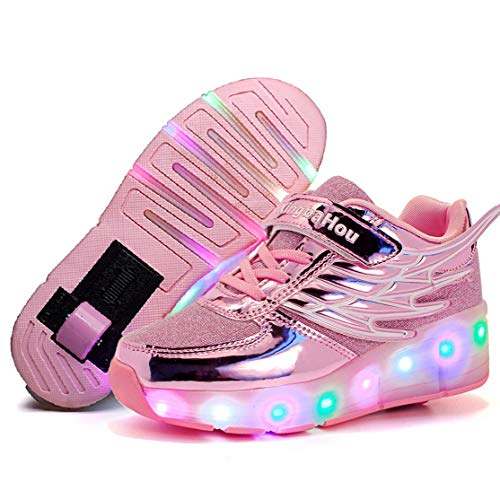 Nsasy Rollschuhe Schuhe Mädchen Jungen Rollschuhe Kinder Rad Schuhe Roller Sneakers Schuhe mit Rollen für Kinder, (K03-rosa-single), 35 EU