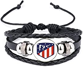 Leather Bracelet Football Club Logo Bangle Barcelona Real Madrid Glass Cabochon Team Logo Bracelet for Football Fan Gifts