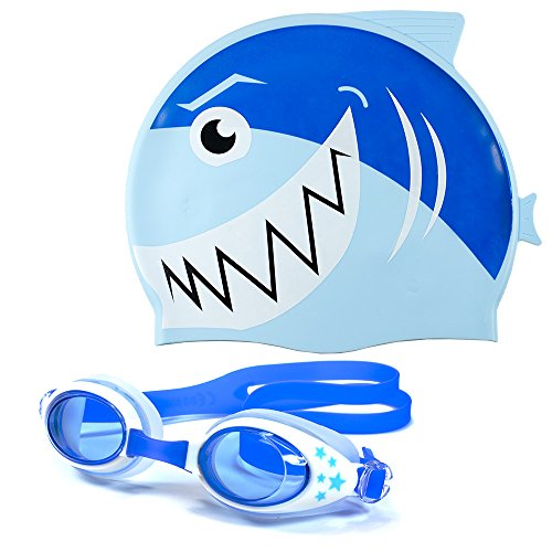 Kids Silicone Swim Cap & Goggles for Boys and Girls - Fun Shark Designs for Toddlers and Kids Ages 6 and Under