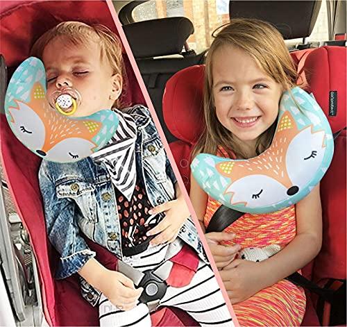 BRUNOKO Almohada para Bebé, Sujeta la Cabeza de Niños en Coche y Carrito 2 en 1 - Reposacabezas Coche y Protector Cinturón Seguridad para Bebés y Niños - Accesorios Coche Niños - Diseñado en España
