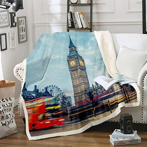 Homemissing Famosa manta de tela sherpa para teléfono de Londres manta de forro polar para niños y niñas retro The Big Ben Symbols Manta de felpa para sofá cama, doble 156 x 188 cm