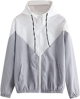 Women's Casual Coat Color Block Drawstring Hooded Windbreaker Jacket Zip Long Sleeves Sport Gym Coats with Pockets