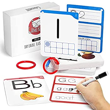 GAMENOTE Dry Erase Alphabet and Number Flash Cards - Write and Wipe Laminated ABC Letter Tracing Practice Card for Kindergarten  47 Flashcards with 2 Rings and Marker
