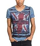 trueprodigy Casual Marca Camiseta para Hombre con impresión Estampada Ropa Retro Vintage Rock Vestir Moda Cuello v Manga Corta Slim fit Designer Fashion t-Shirt, Colores:Ombreblue, Tamaño:M