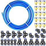 Tailonz Pneumatic Blue 6mm OD 4mm ID Polyurethane PU Air Hose Pipe Tube Kit 32 Meter 100ft