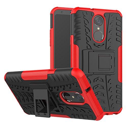 TiHen Handyhülle für LG stylo4/LG Q Stylus Hülle, 360 Grad Ganzkörper Schutzhülle + Panzerglas Schutzfolie 2 Stück Stoßfest zhülle Handys Tasche Bumper Hülle Cover Skin mit Ständer -rot